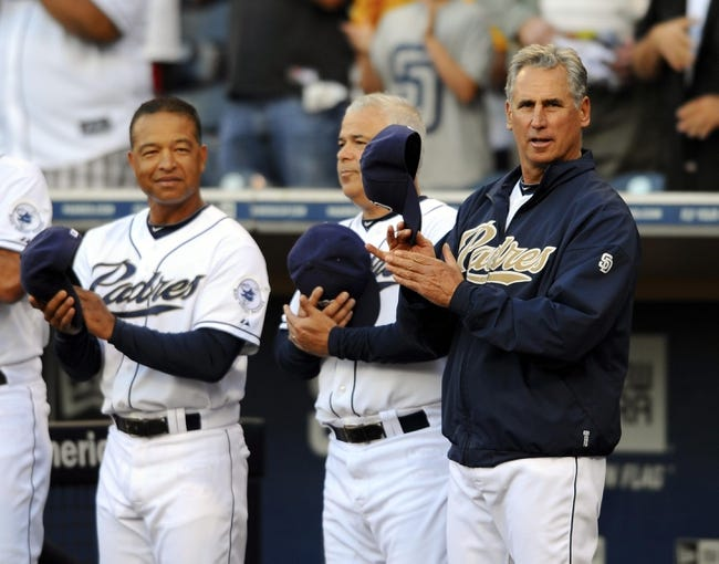 Jul 29, 2013; San Diego, CA, USA; San Diego Padres manager Bud Black (right), bench coach Rick Renteria (center) and first base coach Dave Roberts prior to the game against the Cincinnati Reds at Petco Park. . Mandatory Credit: Christopher Hanewinckel-USA TODAY Sports