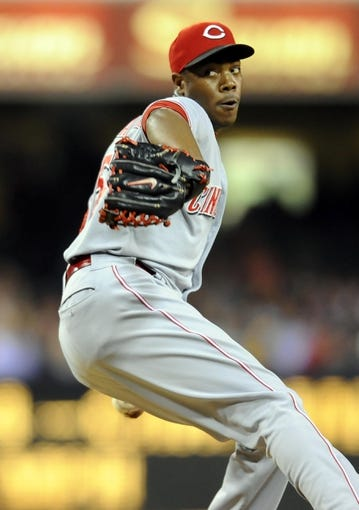 Jul 29, 2013; San Diego, CA, USA; Cincinnati Reds relief pitcher pitcher Aroldis Chapman (54) throws during the ninth inning against the San Diego Padres at Petco Park. The Reds lost 2-1. Mandatory Credit: Christopher Hanewinckel-USA TODAY Sports