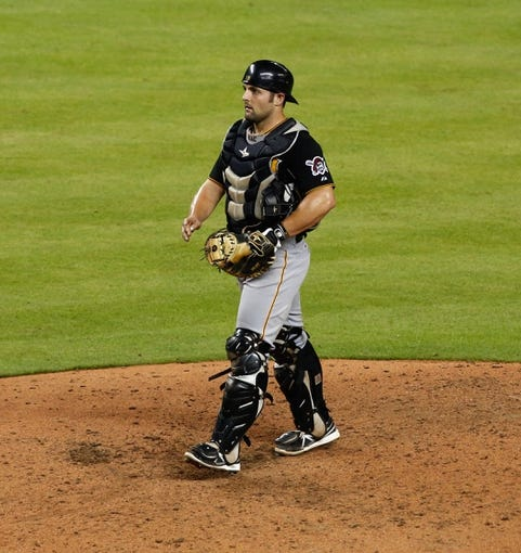 Jul 27, 2013; Miami, FL, USA;  Pittsburgh Pirates catcher Michael McKenry  during the fourth inning against the Miami Marlins at Marlins Park. Mandatory Credit: Robert Mayer-USA TODAY Sports