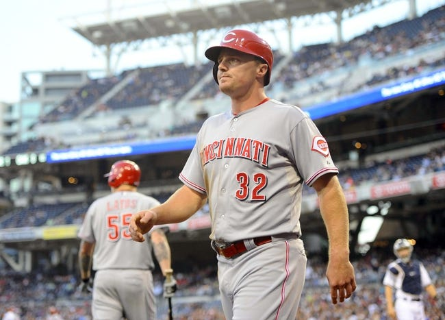 Jul 30, 2013; San Diego, CA, USA; Cincinnati Reds right fielder Jay Bruce (32) after scoring during the second inning against the San Diego Padres at Petco Park. Mandatory Credit: Christopher Hanewinckel-USA TODAY Sports