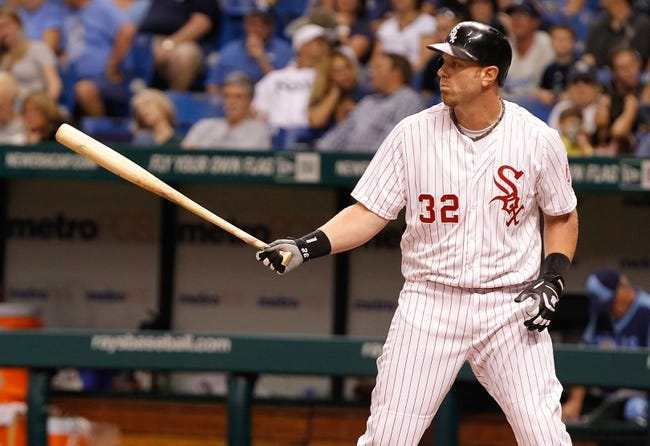 Jul 6, 2013; St. Petersburg, FL, USA; Chicago White Sox first baseman Adam Dunn (32) against the Tampa Bay Rays at Tropicana Field. Tampa Bay Rays defeated the Chicago White Sox 3-0. Mandatory Credit: Kim Klement-USA TODAY Sports