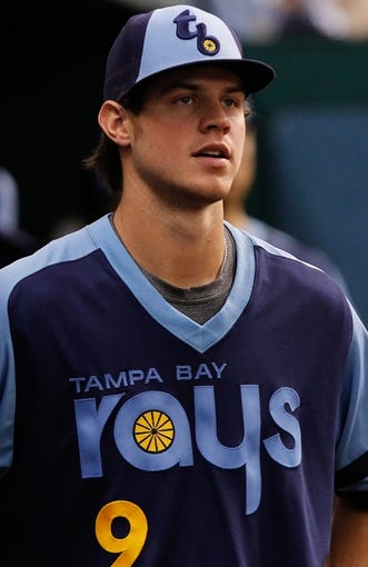 Jul 6, 2013; St. Petersburg, FL, USA;Tampa Bay Rays right fielder Wil Myers (9) against the Chicago White Sox at Tropicana Field. Mandatory Credit: Kim Klement-USA TODAY Sports