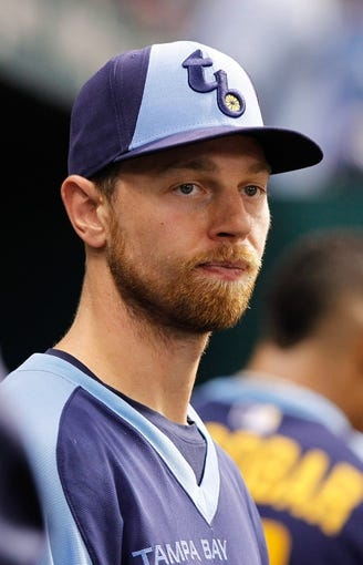 Jul 6, 2013; St. Petersburg, FL, USA; Tampa Bay Rays second baseman Ben Zobrist (18) against the Chicago White Sox at Tropicana Field. Mandatory Credit: Kim Klement-USA TODAY Sports