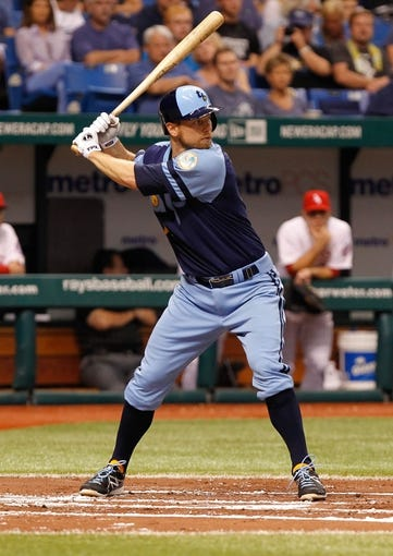 Jul 6, 2013; St. Petersburg, FL, USA; Tampa Bay Rays second baseman Ben Zobrist (18) at bat against the Chicago White Sox at Tropicana Field. Mandatory Credit: Kim Klement-USA TODAY Sports