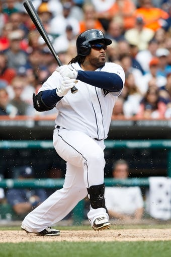 Jul 28, 2013; Detroit, MI, USA; Detroit Tigers first baseman Prince Fielder (28) drives in a run on a fielders choice in the sixth inning against the Philadelphia Phillies at Comerica Park. Mandatory Credit: Rick Osentoski-USA TODAY Sports
