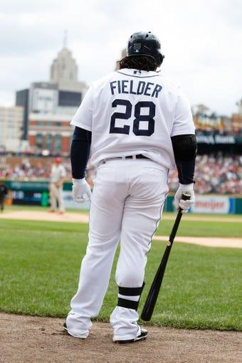 Jul 28, 2013; Detroit, MI, USA; Detroit Tigers designated hitter Prince Fielder (28) during the game against the Philadelphia Phillies at Comerica Park. Mandatory Credit: Rick Osentoski-USA TODAY Sports