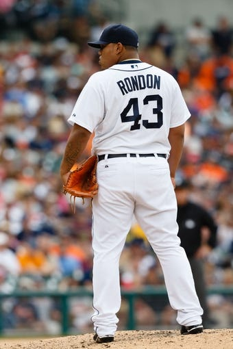 Jul 28, 2013; Detroit, MI, USA; Detroit Tigers relief pitcher Bruce Rondon (43) gets set to pitch against the Philadelphia Phillies at Comerica Park. Mandatory Credit: Rick Osentoski-USA TODAY Sports