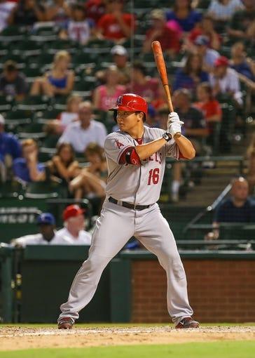 Jul 30, 2013; Arlington, TX, USA; Los Angeles Angels catcher Hank Conger (16) bats during the game against the Texas Rangers at Rangers Ballpark in Arlington. Texas won 14-11.  Mandatory Credit: Kevin Jairaj-USA TODAY Sports