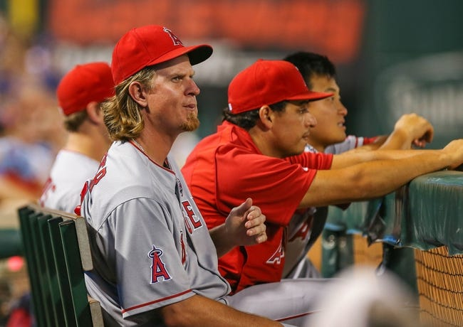 Jul 30, 2013; Arlington, TX, USA; Los Angeles Angels starting pitcher Jered Weaver (36) looks on during the game against the Texas Rangers at Rangers Ballpark in Arlington. Texas won 14-11.  Mandatory Credit: Kevin Jairaj-USA TODAY Sports