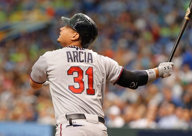 Jul 11, 2013; St. Petersburg, FL, USA; Minnesota Twins left fielder Oswaldo Arcia (31) looks up after he hit against the Tampa Bay Rays at Tropicana Field. Mandatory Credit: Kim Klement-USA TODAY Sports
