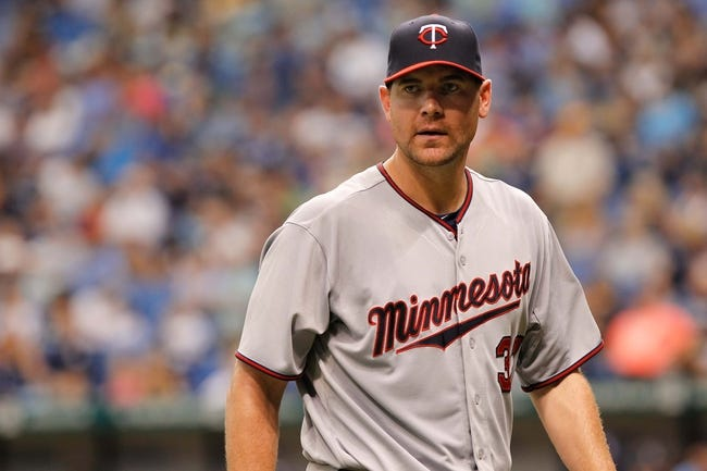 Jul 11, 2013; St. Petersburg, FL, USA; Minnesota Twins starting pitcher Mike Pelfrey (37) against the Tampa Bay Rays at Tropicana Field. Mandatory Credit: Kim Klement-USA TODAY Sports