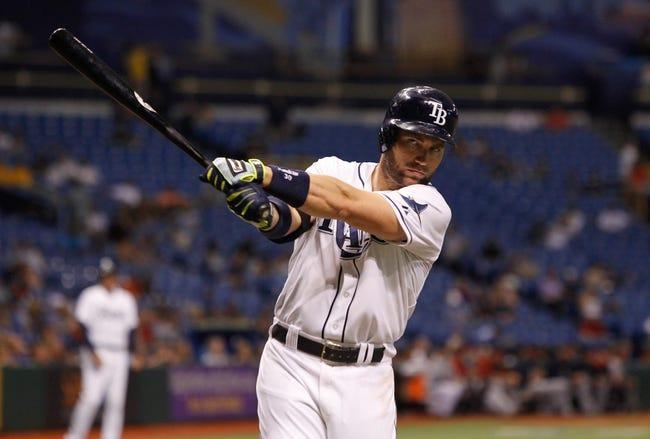 Jul 10, 2013; St. Petersburg, FL, USA; Tampa Bay Rays designated hitter Luke Scott (30) at bat against the Minnesota Twins at Tropicana Field. Mandatory Credit: Kim Klement-USA TODAY Sports