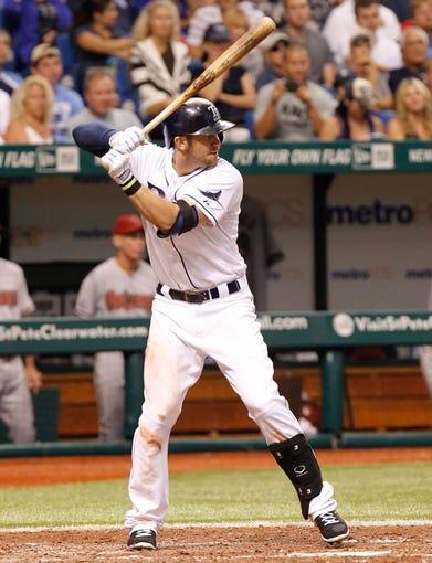 Jul 30, 2013; St. Petersburg, FL, USA; Tampa Bay Rays third baseman Evan Longoria (3) at bat against the Arizona Diamondbacks at Tropicana Field. Mandatory Credit: Kim Klement-USA TODAY Sports