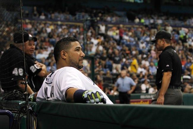 Jul 30, 2013; St. Petersburg, FL, USA; Tampa Bay Rays catcher Jose Molina (28) against the Arizona Diamondbacks at Tropicana Field. Mandatory Credit: Kim Klement-USA TODAY Sports
