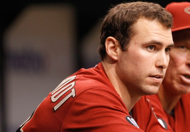 Jul 31, 2013; St. Petersburg, FL, USA; Arizona Diamondbacks first baseman Paul Goldschmidt (44) in the dugout against the Tampa Bay Rays at Tropicana Field. Mandatory Credit: Kim Klement-USA TODAY Sports