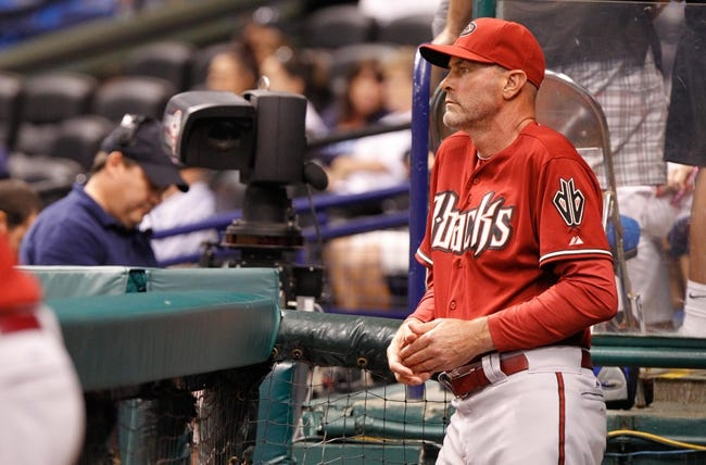 Jul 31, 2013; St. Petersburg, FL, USA; Arizona Diamondbacks manager Kirk Gibson (23) in the dugout against the Tampa Bay Rays at Tropicana Field. Arizona Diamondbacks defeated the Tampa Bay Rays 7-0. Mandatory Credit: Kim Klement-USA TODAY Sports
