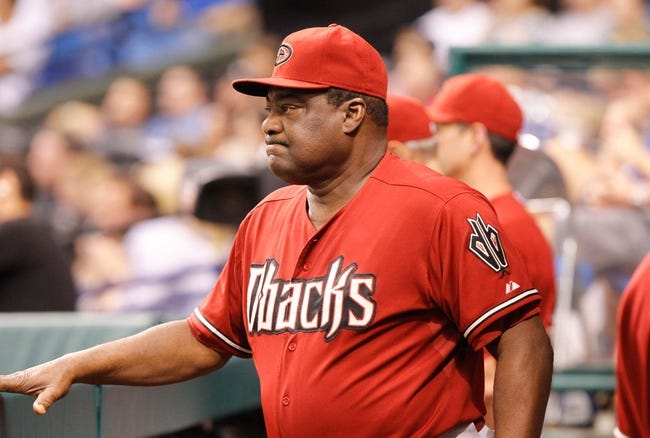 Jul 31, 2013; St. Petersburg, FL, USA; Arizona Diamondbacks batting coach Don Baylor (25) in the dugout against the Tampa Bay Rays at Tropicana Field. Arizona Diamondbacks defeated the Tampa Bay Rays 7-0. Mandatory Credit: Kim Klement-USA TODAY Sports