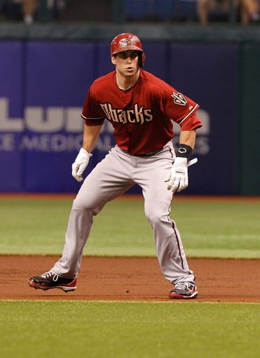 Jul 31, 2013; St. Petersburg, FL, USA; Arizona Diamondbacks first baseman Paul Goldschmidt (44) leads off first base against the Tampa Bay Rays at Tropicana Field. Mandatory Credit: Kim Klement-USA TODAY Sports