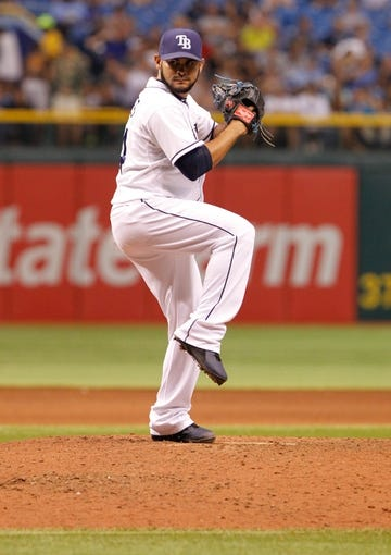 Jul 31, 2013; St. Petersburg, FL, USA; Tampa Bay Rays relief pitcher Alex Torres (54) throws a pitch against the Arizona Diamondbacks at Tropicana Field. Mandatory Credit: Kim Klement-USA TODAY Sports