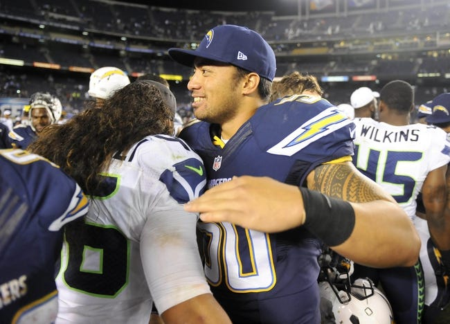 Aug 8, 2013; San Diego, CA, USA; San Diego Chargers linebacker Manti Te'o (50) after a 31-10 loss against the Seattle Seahawks at Qualcomm Stadium. Mandatory Credit: Christopher Hanewinckel-USA TODAY Sports
