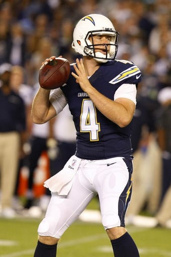 Aug 8, 2013; San Diego, CA, USA; San Diego Chargers quarterback Brad Sorensen (4) looks for a receiver against the Seattle Seahawks at Qualcomm Stadium. Mandatory Credit: Jody Gomez-USA TODAY Sports