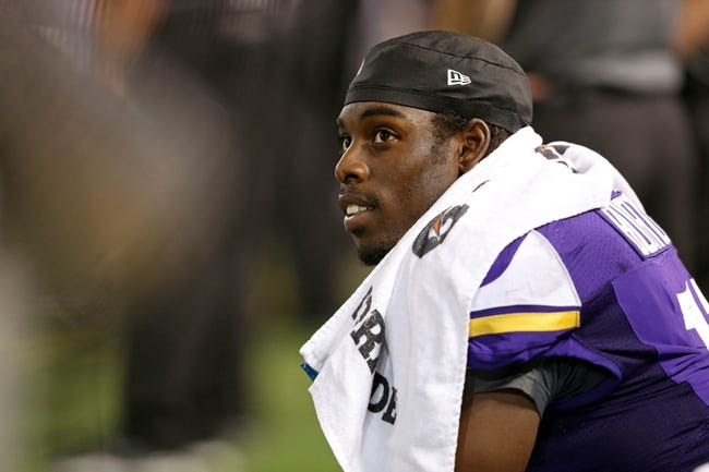 Aug 9, 2013; Minneapolis, MN, USA; Minnesota Vikings wide receiver Stephen Burton (11) looks on from the sidelines during the third quarter against the Houston Texans at the Metrodome. The Texans won 27-13. Mandatory Credit: Jesse Johnson-USA TODAY Sports