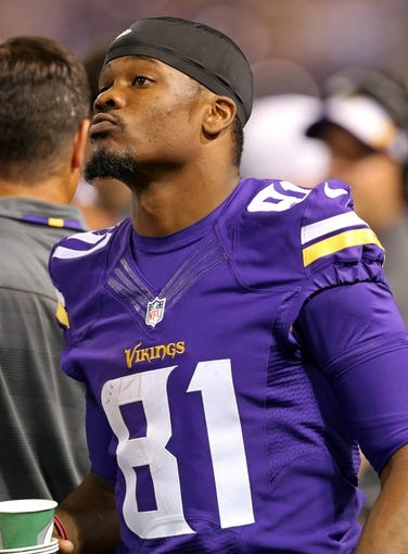 Aug 9, 2013; Minneapolis, MN, USA; Minnesota Vikings wide receiver Jerome Simpson (81) looks on from the sidelines during the third quarter against he Houston Texans at the Metrodome. The Texans won 27-13. Mandatory Credit: Jesse Johnson-USA TODAY Sports