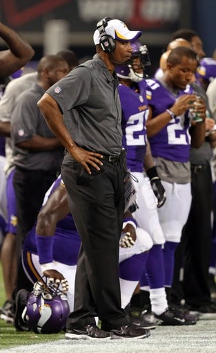 Aug 9, 2013; Minneapolis, MN, USA; Minnesota Vikings head coach Leslie Frazier looks on during the fourth quarter against the Houston Texans at the Metrodome. The Texans won 27-13. Mandatory Credit: Jesse Johnson-USA TODAY Sports