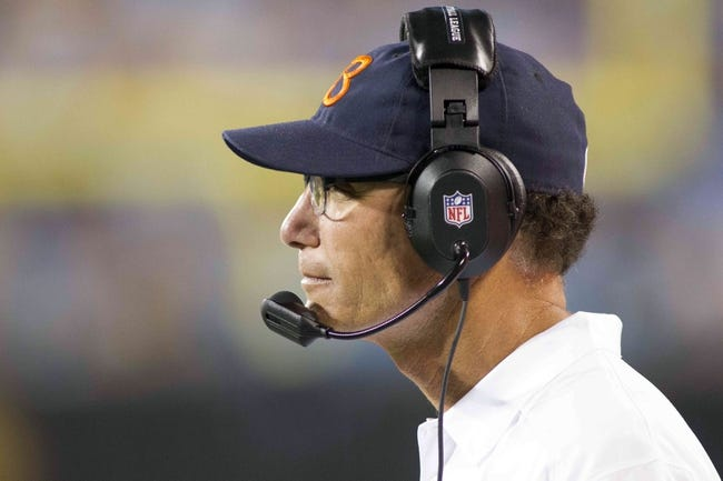 Aug 9, 2013; Charlotte, NC, USA; Chicago Bears head coach Marc Trestman looks on during the second half against the Carolina Panthers. The Panthers defeated the Bears 24-17. Mandatory Credit: Jeremy Brevard-USA TODAY Sports