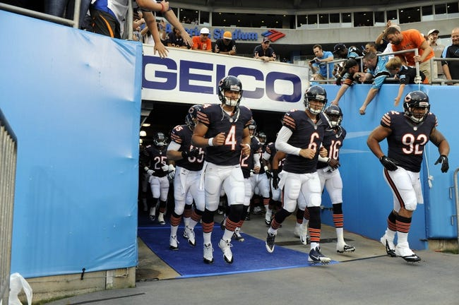 Aug 9, 2013; Charlotte, NC, USA; Chicago Bears take to the field before the game against the Carolina Panthers at Bank of America Stadium.  CArolina wins 24-17.  Mandatory Credit: Sam Sharpe-USA TODAY Sports