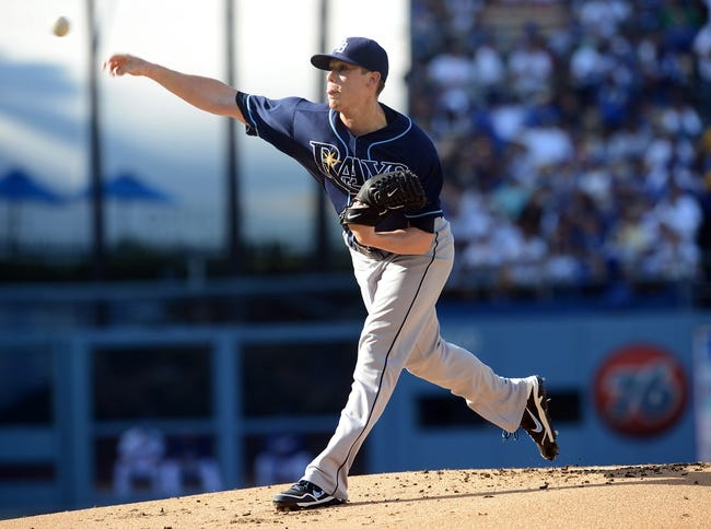 Aug 11, 2013; Los Angeles, CA, USA;   Tampa Bay Rays starting pitcher Jeremy Hellickson (58) during the game against the Los Angeles Dodgers at Dodger Stadium. Mandatory Credit: Jayne Kamin-Oncea-USA TODAY Sports