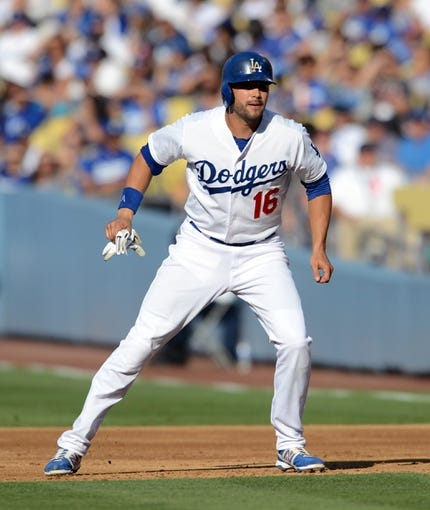 Aug 11, 2013; Los Angeles, CA, USA;   Los Angeles Dodgers right fielder Andre Ethier (16) takes a lead of first base in the second inning of the game against the Tampa Bay Rays at Dodger Stadium. Mandatory Credit: Jayne Kamin-Oncea-USA TODAY Sports