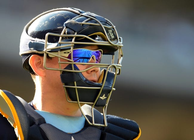 Aug 11, 2013; Los Angeles, CA, USA;   Tampa Bay Rays catcher Jose Lobaton (59) during the game against the Los Angeles Dodgers at Dodger Stadium. Mandatory Credit: Jayne Kamin-Oncea-USA TODAY Sports