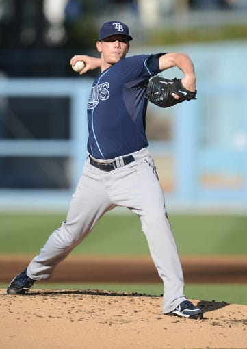 Aug 11, 2013; Los Angeles, CA, USA;   Tampa Bay Rays starting pitcher Jeremy Hellickson (58) in the second inning of the game against the Los Angeles Dodgers at Dodger Stadium. Mandatory Credit: Jayne Kamin-Oncea-USA TODAY Sports