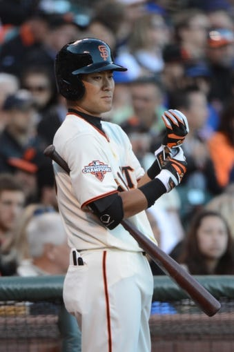 July 9, 2013; San Francisco, CA, USA; San Francisco Giants left fielder Kensuke Tanaka (37) stands on deck during the first inning against the New York Mets at AT&T Park. The Mets defeated the Giants 10-6. Mandatory Credit: Kyle Terada-USA TODAY Sports