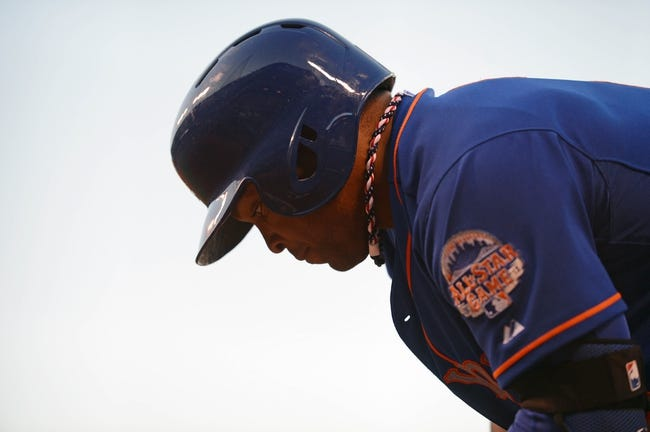 July 9, 2013; San Francisco, CA, USA; New York Mets right fielder Marlon Byrd (6) stands on deck during the fourth inning against the San Francisco Giants at AT&T Park. The Mets defeated the Giants 10-6. Mandatory Credit: Kyle Terada-USA TODAY Sports