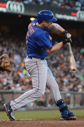 July 9, 2013; San Francisco, CA, USA; New York Mets third baseman David Wright (5) at bat during the fourth inning against the San Francisco Giants at AT&T Park. The Mets defeated the Giants 10-6. Mandatory Credit: Kyle Terada-USA TODAY Sports
