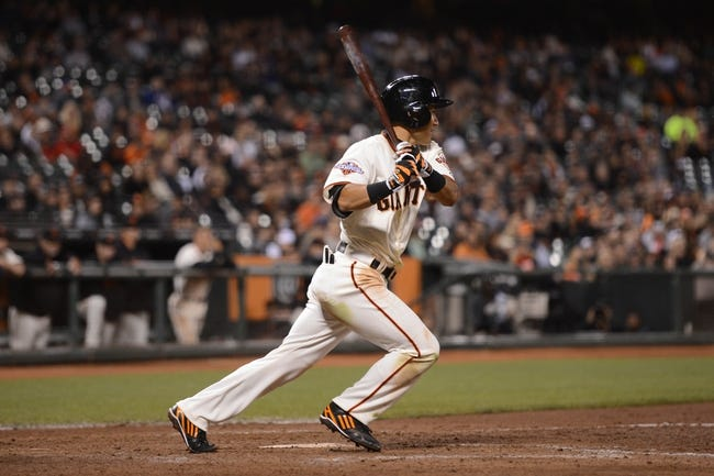 July 9, 2013; San Francisco, CA, USA; San Francisco Giants left fielder Kensuke Tanaka (37) bats during the eighth inning against the New York Mets at AT&T Park. The Mets defeated the Giants 10-6. Mandatory Credit: Kyle Terada-USA TODAY Sports