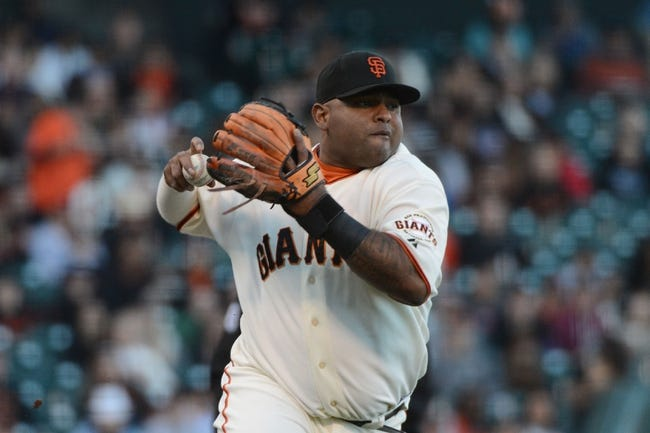July 9, 2013; San Francisco, CA, USA; San Francisco Giants third baseman Pablo Sandoval (48) throws to first base during the first inning against the New York Mets at AT&T Park. The Mets defeated the Giants 10-6. Mandatory Credit: Kyle Terada-USA TODAY Sports