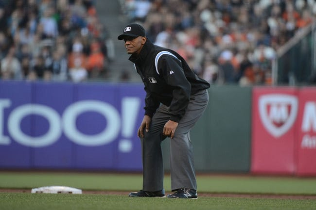 July 9, 2013; San Francisco, CA, USA; MLB umpire CB Bucknor during the second inning between the San Francisco Giants and the New York Mets at AT&T Park. The Mets defeated the Giants 10-6. Mandatory Credit: Kyle Terada-USA TODAY Sports