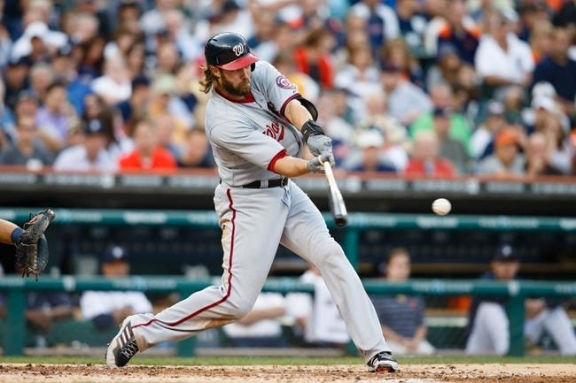 Jul 30, 2013; Detroit, MI, USA; Washington Nationals right fielder Jayson Werth (28) at bat against the Detroit Tigers at Comerica Park. Mandatory Credit: Rick Osentoski-USA TODAY Sports