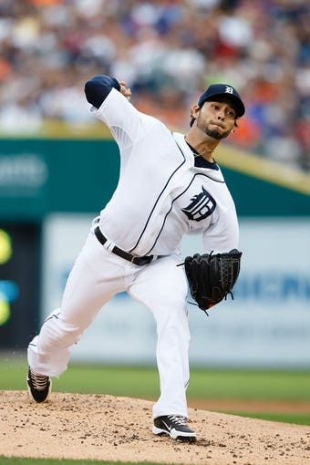Jul 30, 2013; Detroit, MI, USA; Detroit Tigers starting pitcher Anibal Sanchez (19) pitches in the second inning against the Washington Nationals at Comerica Park. Mandatory Credit: Rick Osentoski-USA TODAY Sports