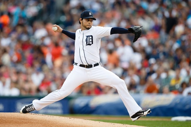 Jul 30, 2013; Detroit, MI, USA; Detroit Tigers starting pitcher Anibal Sanchez (19) pitches in the first inning against the Washington Nationals at Comerica Park. Mandatory Credit: Rick Osentoski-USA TODAY Sports