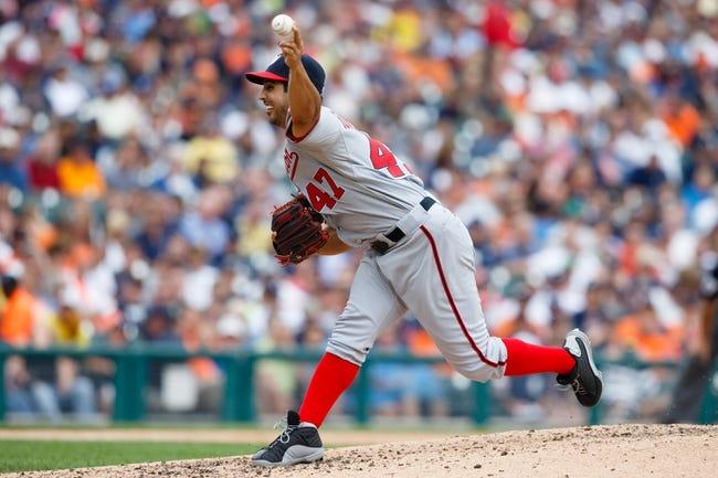 Jul 31, 2013; Detroit, MI, USA; Washington Nationals starting pitcher Gio Gonzalez (47) pitches against the Detroit Tigers at Comerica Park. Mandatory Credit: Rick Osentoski-USA TODAY Sports