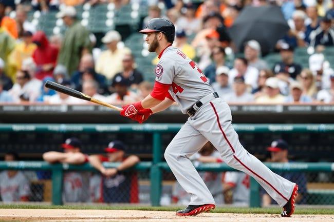 Jul 31, 2013; Detroit, MI, USA; Washington Nationals left fielder Bryce Harper (34) at bat against the Detroit Tigers at Comerica Park. Mandatory Credit: Rick Osentoski-USA TODAY Sports