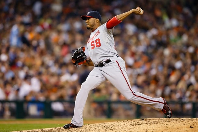 Jul 30, 2013; Detroit, MI, USA; Washington Nationals relief pitcher Fernando Abad (58) pitches against the Detroit Tigers at Comerica Park. Mandatory Credit: Rick Osentoski-USA TODAY Sports