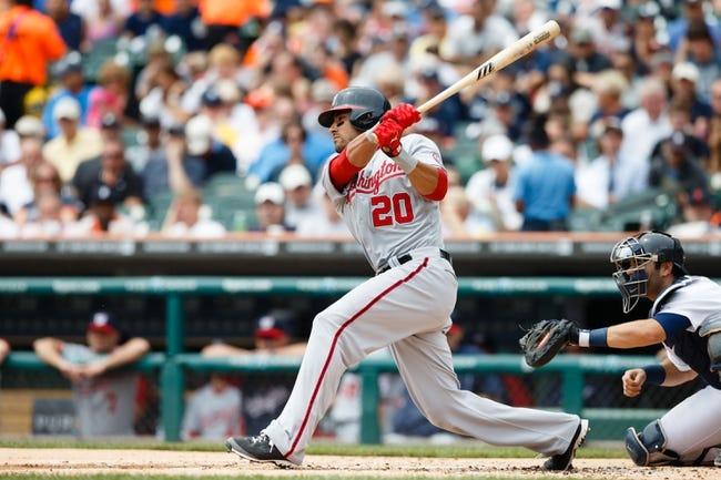 Jul 31, 2013; Detroit, MI, USA; Washington Nationals shortstop Ian Desmond (20) at bat against the Detroit Tigers at Comerica Park. Mandatory Credit: Rick Osentoski-USA TODAY Sports