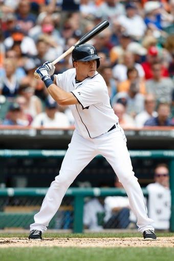 Jul 31, 2013; Detroit, MI, USA; Detroit Tigers third baseman Jose Iglesias (1) at bat against the Washington Nationals at Comerica Park. Mandatory Credit: Rick Osentoski-USA TODAY Sports