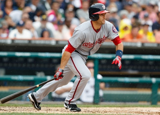 Jul 31, 2013; Detroit, MI, USA; Washington Nationals second baseman Stephen Lombardozzi (1) at bat against the Detroit Tigers at Comerica Park. Mandatory Credit: Rick Osentoski-USA TODAY Sports