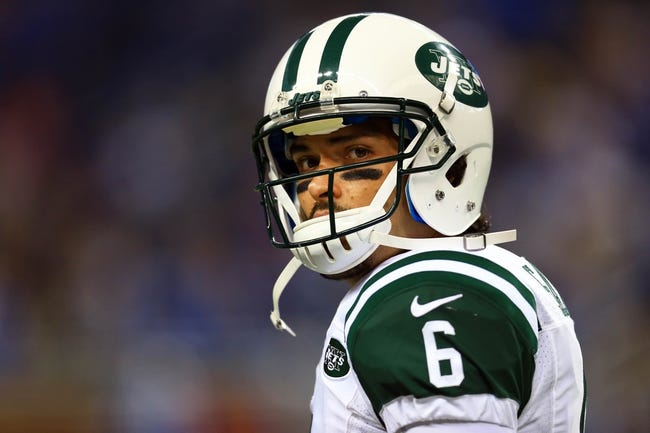 Aug 9, 2013; Detroit, MI, USA; New York Jets quarterback Mark Sanchez (6) during a preseason game against the Detroit Lions at Ford Field. Mandatory Credit: Andrew Weber-USA TODAY Sports